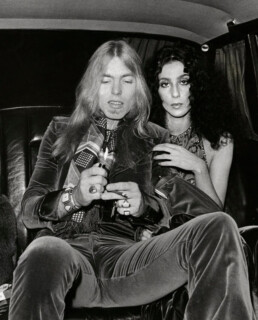 cher and gregg allman in a limo