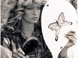 farrah fawcett with butterfly mirror